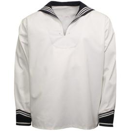 Marine hemd - WIT met donkerblauwe kraag origineel