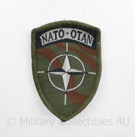 NATO-OTAN  embleem Defensie en NATO - met klittenband - 9 x 6,5 cm - origineel