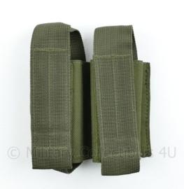 Defensie en Korps Mariniers en US Army groene Molle pouch double magazin Pistol - 14,5 x 11,5 x 4 cm - nieuw - origineel
