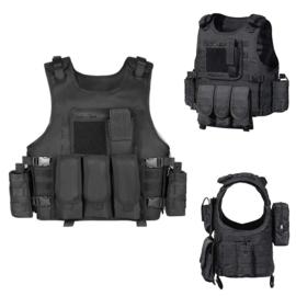Tactical OPS vest met tassen - zwart
