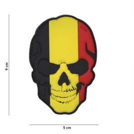 Embleem PVC 3D PVC  met klittenband - Skull met Belgische vlag  - 9 x 5 cm.