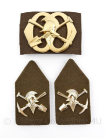 Defensie baret en kraag insigne set Pioniers - 3 delige set - origineel
