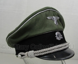 Waffen SS groene gabardine Schirmmütze Erel  - zilveren bies - officier algemeen - 59 cm.