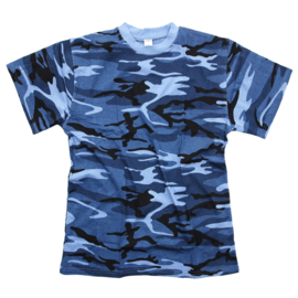 T shirt Sky blue urban camo - Made in USA - alleen maat XL