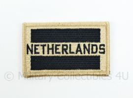 Netherlands embleem khaki met zwart - met klittenband - 8 x 5 cm