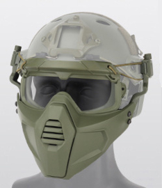 Airsoft masker Full  of Half face voor aan Mich Fast helm - Groen