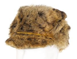 Militaire winter bontmuts - echt bruin bont - licht gebruikt - meerdere maten - origineel