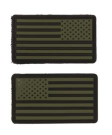 Uniform landsvlag USA 3d PVC GROEN OD  met klittenband - 2 stuks - 8,8 x 5 cm.