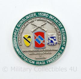 Zeldzame coin US Taskforce gunslinger 153rd Infantry Regiment Operation Iraqi Freedom II  - diameter 4 cm - origineel