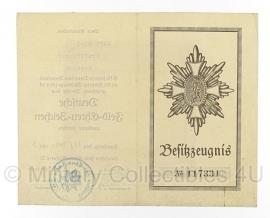 Oorkonde  Deutsche Feld-Ehrenzeichen - Kraftfahrer - origineel WO2 Duits 1933