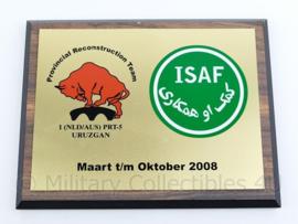 Wandbord Defensie ISAF Provincial Reconstruction team 2008- 17,5x22,5x1,5cm - origineel