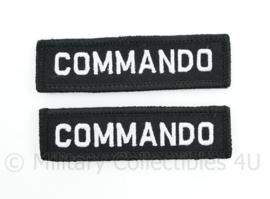 WO2 WW2 COMMANDO shoulder title pair - met klittenband