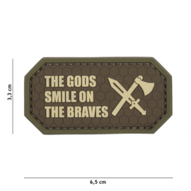 Embleem 3D PVC met klittenband - The Gods smile on the braves - bruin - 6,5 x 3,3 cm.