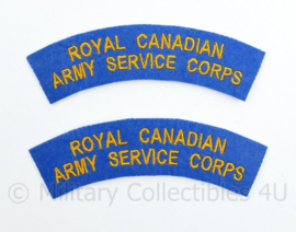 WO2 WW2 Royal Canadian Army Service Corps shoulder title pair