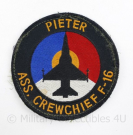 Klu Luchtmacht embleem Assistant Crewchief F 16 Pieter  - met klittenband -  diameter 10,5 cm - origineel