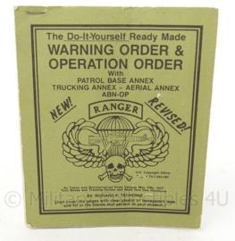 US Vietnam oorlog SQUAD LEADERS MANUAL  Warning order and Operator order boekje - Zeldzaam - 15 x 12 cm - origineel