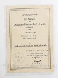 Wo2 Duitse originele oorkonde Erdkampfabzeichen der Luftwaffe 1944 - Zeldzaam - 20 x 14 cm - origineel