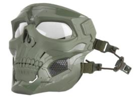 Airsoft Masker SKULL GROEN - MET helmbevestiging EN hoofdbevestiging