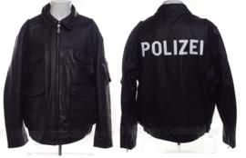 """Bundespolizei leren jas met opdruk """"Polizei """"op rug  - maat 46 tm 60 - origineel"""