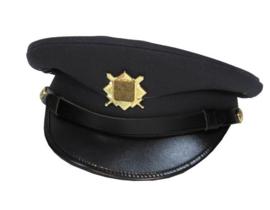 Militaire platte pet met gouden insigne - Donkerblauw - maat 55 of 56 cm - origineel