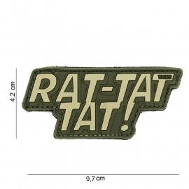 Embleem 3D PVC - met klittenband - Rat-tat tat!  - 9,7 x 4,2  cm