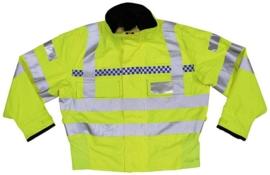 Britse politie jas geel reflecterend - met portofoon houders  - origineel