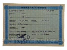 Stalag tewerkstelling - Nederlandse krijgsgevangene - Johannes Koenz Amsterdam