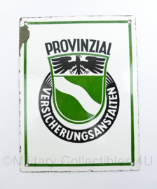 Duits emaille wandbord jaren 40 en 50 Provinzial Versicherungsanstalten - 20 x 15 cm - origineel