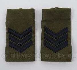 """KM Marine Korps Mariniers GVT schouder epauletten met rang """"Sergeant"""" - afmeting 5 x 9 cm - origineel"""