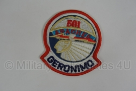 """WWII US 501th PIR Parachute Infantry Regiment patch """"Geronimo"""""""
