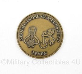 Coin Nederlandse Gemeenschap Zeven - Zeskamp Koninginnedag - diameter 3,5 cm - origineel