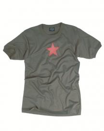 T shirt - Groen met rode ster - 100% katoen