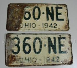 Nummerbord PAAR Ohio 1942 -1590C- origineel
