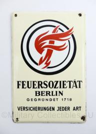 Duits emaille wandbord jaren 40 en 50 Feuersozietat Berlin Versicherungen Jeder Art - 25 x 16,5 cm - origineel