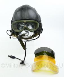 Nederlands leger tank helm H9003 met lederen cover + draagtas + bril - Gentex DH132 AS SV- Topstaat! - origineel