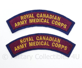 WO2 WW2 The Royal Canadian Army Medical Corps shoulder title pair