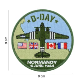 Embleem stof D-Day Normany 6 June 1944  - 9 cm. diameter - C-47