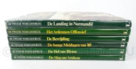Naslagwerk set van 6 boeken over WO2 - Landing Normandie, Ardennen offensief, Bevrijding, Bange meidagen, Slag om Arnhem en Hel van Birma