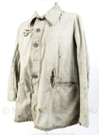 Wo2 Duitse Drillich werkjas - maat 46 -  in zwaar gedragen staat - adelaar replica - jas origineel
