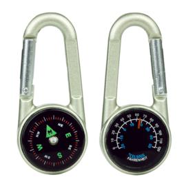 BCB Karabijnhaak - 3 in 1 (haak, kompas en thermometer) - 7 x 3 x 1,5 cm