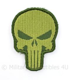 Leger embleem Skull Punisher Green - met klittenband -7,5 x 5,5 cm - origineel