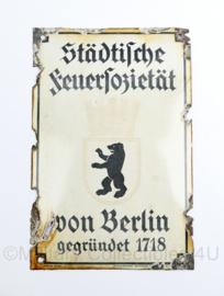 Duits emaille wandbord jaren 40 en 50 Stadtliche feuersozietat von Berlin gegrundet 1718 - 25 x 16,5 cm- origineel