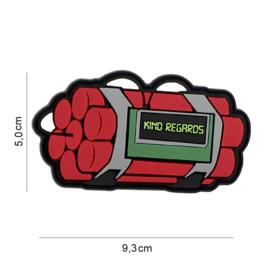 Embleem 3D PVC - met klittenband - Timebomb Kind Regards - 9,3 x 5 cm.