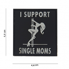 Embleem I support Single Moms - klittenband - 3D PVC - 4,4 x 4,4 cm