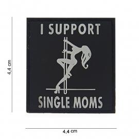 Embleem I support Single Moms - klittenband - 3D PVC - 4,4 x 4,4 cm
