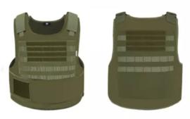 NL Politie DSI Speciale Eenheden universeel kogelwerende vest hoes zonder ballistische inhoud - XS t/m XXL - met klittenband voor tekststrook voor EN achter - replica - GROEN