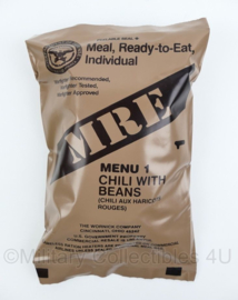 US Army MRE los rantsoen - Meal Ready to Eat  - Menu 1 Chili with Beans - in houdbaar tot 6-2020