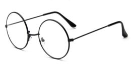 Antieke bril, ZWART frame met ronde glazen met helder glas (niet op sterkte) - nieuw gemaakt
