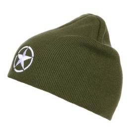 Groene beanie muts met Allied Star