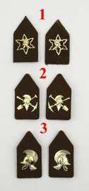 KL Kraagspiegels met bruine achtergrond - 1 paar naar keuze - origineel